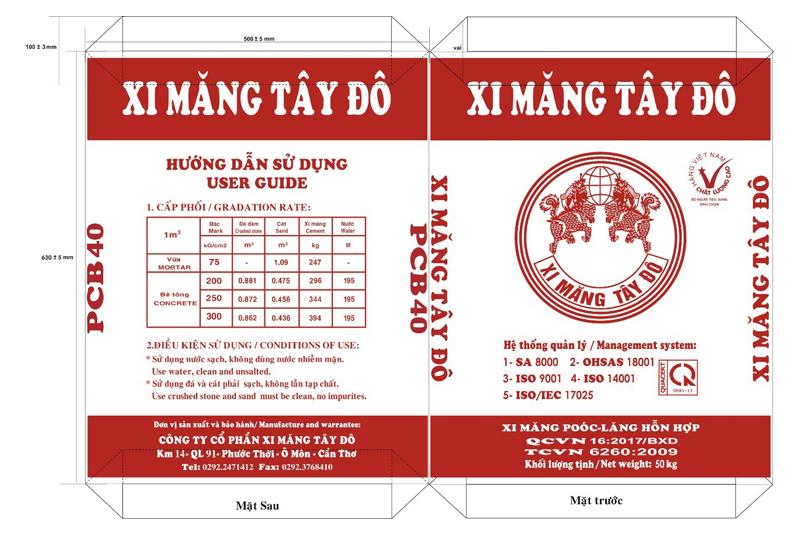 XI MĂNG BAO TÂY ĐÔ (ĐỎ) PCB40